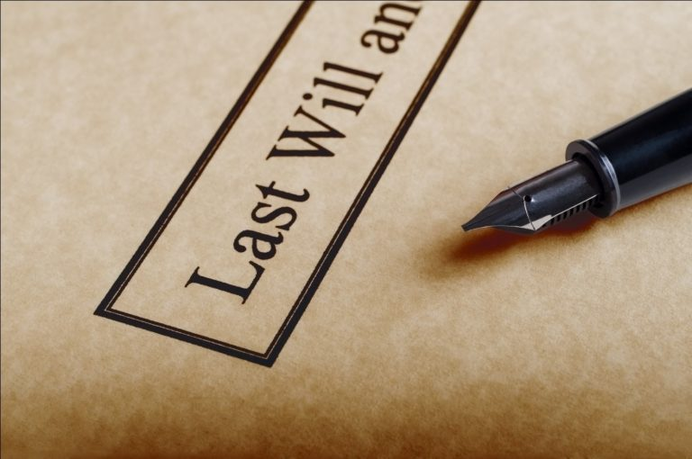 Last will written on parchment paper with a pen