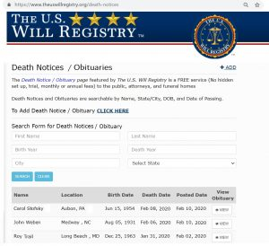 OBITUARY AND DEATH NOTICE SEARCH